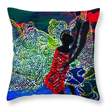 Throw Pillow featuring the painting Jesus Walking On Water by Gloria Ssali