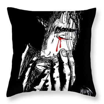 Jesus Wept Red Tears Throw Pillow by Justin Moore