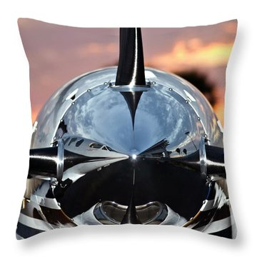 Airplane At Sunset Throw Pillow by Carolyn Marshall