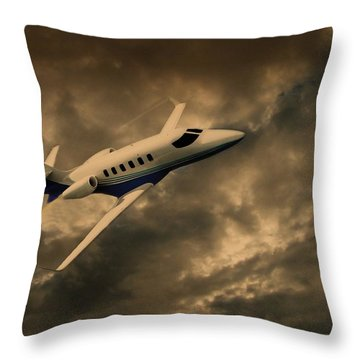 Jet Through The Clouds Throw Pillow
