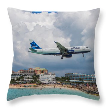 jetBlue in St. Maarten Throw Pillow