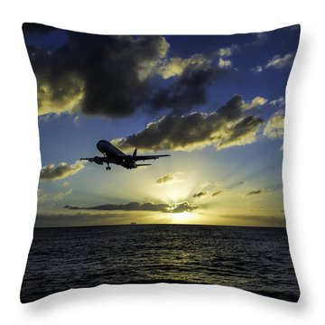 jetBlue landing at St. Maarten Throw Pillow by David Gleeson
