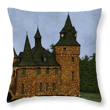 Throw Pillow featuring the drawing Jethro's Castle by Meg Shearer