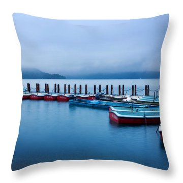 Jetty At Sun Moon Lake Throw Pillow