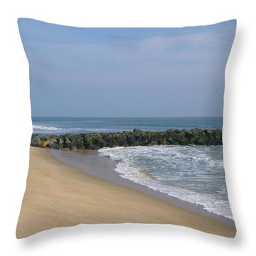 Jetty In Winter Throw Pillow