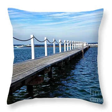 Jetty Stretching To The Ocean Throw Pillow by Kaye Menner