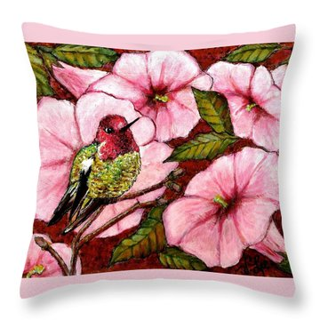 Throw Pillow featuring the painting Jewel Among Blooms by VLee Watson