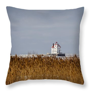 jewel of the Port Lorain Lighthouse Throw Pillow