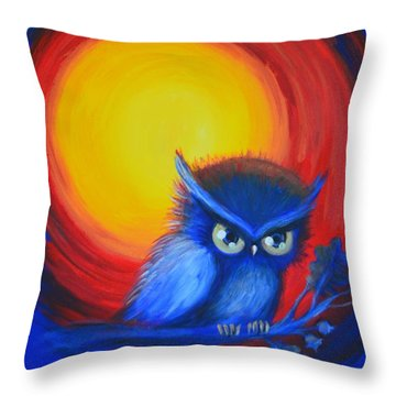 Throw Pillow featuring the painting Jewel-tone Vortex With Owl by Agata Lindquist