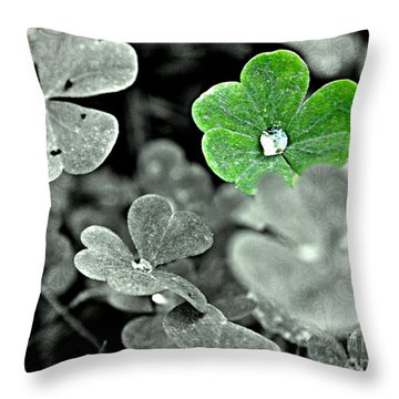 Jeweled Clover Throw Pillow by Carlee Ojeda