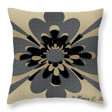 Jeweled Gray On Gold Floral Design Throw Pillow
