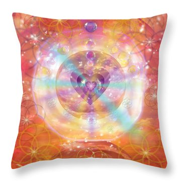 Jeweled Heart Of Happiness Throw Pillow by Alixandra Mullins