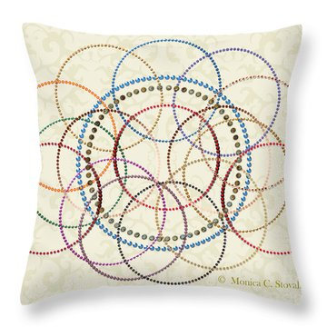 Jeweled Kaleidoscope Design On Beige Throw Pillow