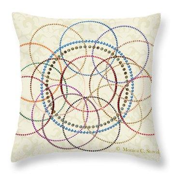 Jeweled Kaleidoscope Design On Beige Throw Pillow