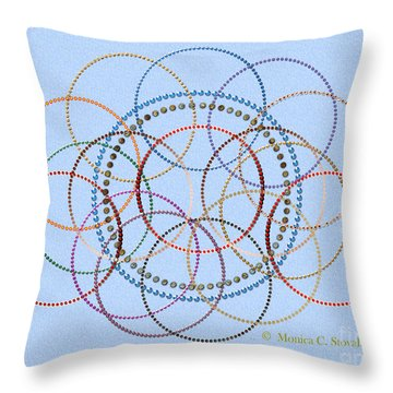 Jeweled Kaleidoscope Design On Blue Throw Pillow