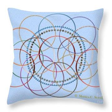 Jeweled Kaleidoscope Design On Blue Throw Pillow