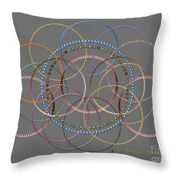 Jeweled Kaleidoscope Design On Gray Throw Pillow