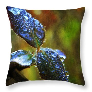 Jeweled Leaves Throw Pillow by Leah Moore