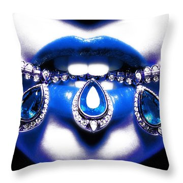 Jewelips Soft Blue Throw Pillow