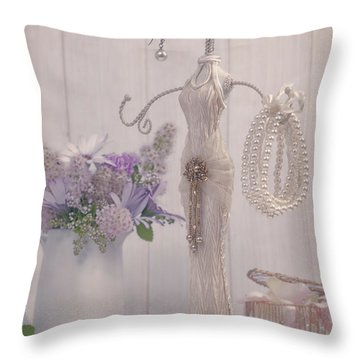 Jewellery And Pearls Throw Pillow by Amanda Elwell
