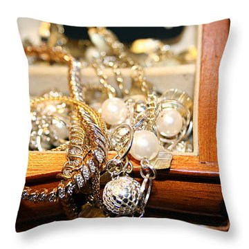 Throw Pillow featuring the photograph Jewelry Collections by Ester  Rogers
