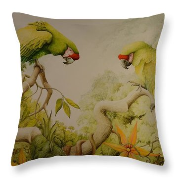 Jewels Of The Rain Forest  Military Macaws Throw Pillow