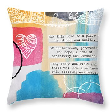 Jewish Home Blessing -greeting Cards And Prints Throw Pillow