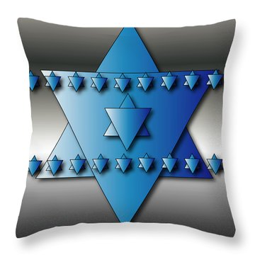 Throw Pillow featuring the digital art Jewish Stars by Marvin Blaine