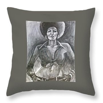 Throw Pillow featuring the drawing Jezebel by Gabrielle Wilson-Sealy