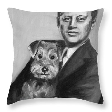 Jfk And Charlie Throw Pillow