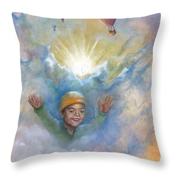 Jhonan And The Hot Air Balloons Throw Pillow