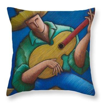 Throw Pillow featuring the painting Jibaro Bajo La Luna by Oscar Ortiz