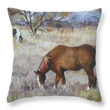 Jill's Horses On A November Day Throw Pillow