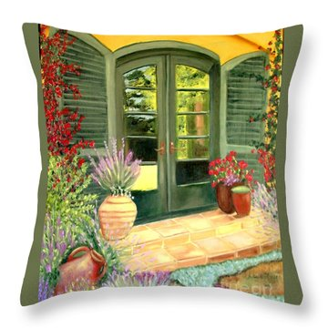 Jill's Patio Throw Pillow by Laurie Morgan