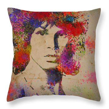 Jim Morisson Watercolor Painting Throw Pillow