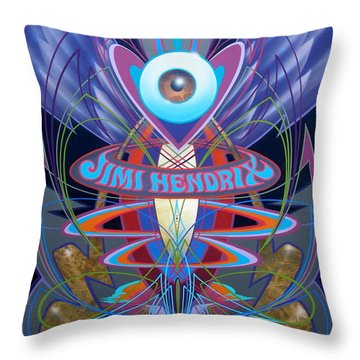 Throw Pillow featuring the painting Jimi Hendrix Memorial by Alan Johnson