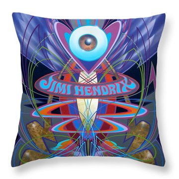 Jimi Hendrix Memorial Throw Pillow
