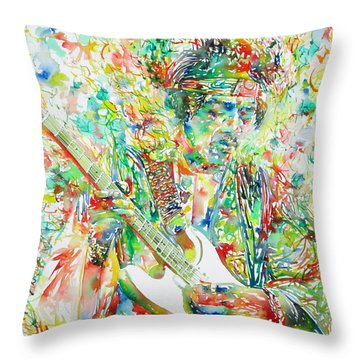 Jimi Hendrix Playing The Guitar Portrait.1 Throw Pillow