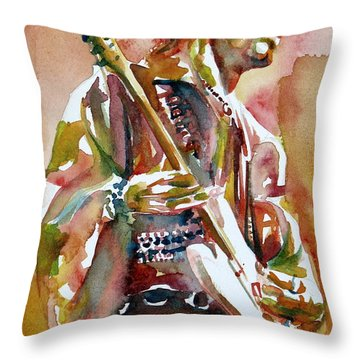 Jimi Hendrix Playing The Guitar Portrait.3 Throw Pillow