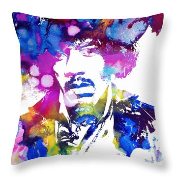 Jimi Hendrix - Psychedelic Throw Pillow by Doc Braham