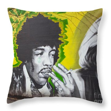 Jimmy Hendrix Mural Throw Pillow