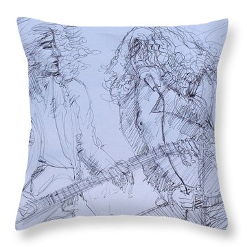 Jimmy Page And Robert Plant Live Concert-pen Portrait Throw Pillow by Fabrizio Cassetta