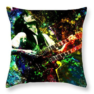 Jimmy Page - Led Zeppelin - Original Painting Print Throw Pillow by Ryan Rock Artist