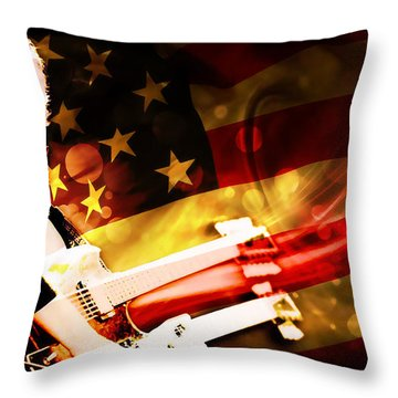 Jimmy Page Of Led Zeppelin Throw Pillow