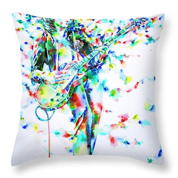 Jimmy Page Playing The Guitar - Watercolor Portrait Throw Pillow by Fabrizio Cassetta
