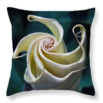Jimsonweed Flower Spiral Throw Pillow