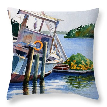 Throw Pillow featuring the painting Joan II And Mates by Roger Rockefeller