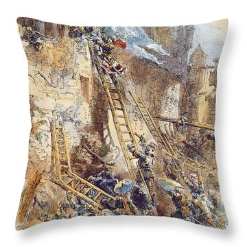 Joan Of Arc At The Assault Of The Tournelles Colour Litho Throw Pillow