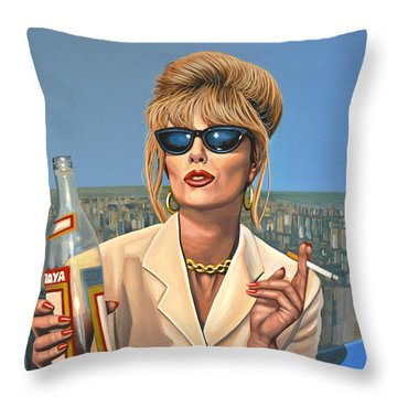 Joanna Lumley As Patsy Stone Throw Pillow by Paul Meijering