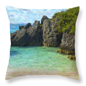 Throw Pillow featuring the photograph Jobson Cove Beach by Verena Matthew